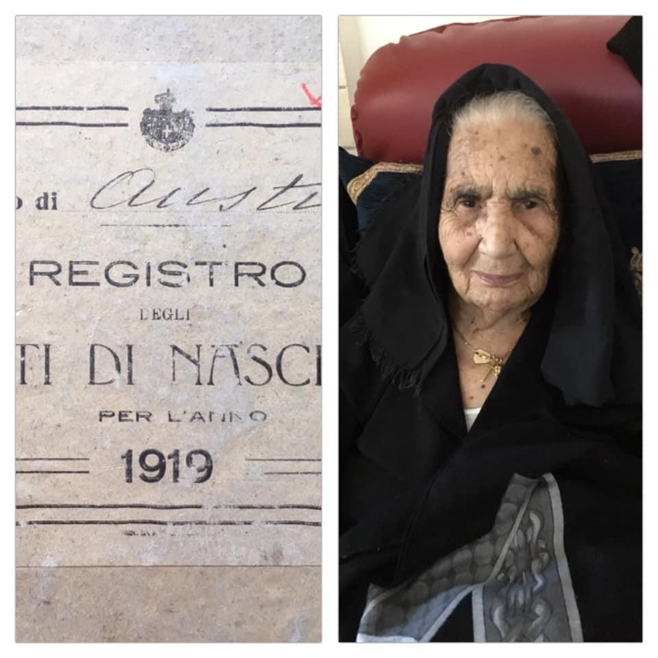 Gli auguri a zia Antonia Pitzeri che compie oggi 100 anni