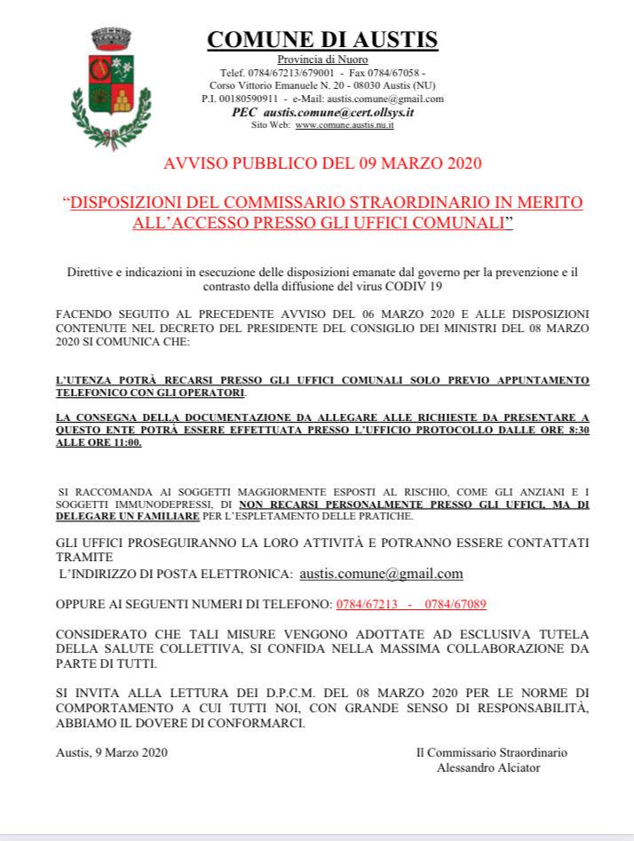 ACCESSO PRESSO GLI UFFICI COMUNALI
