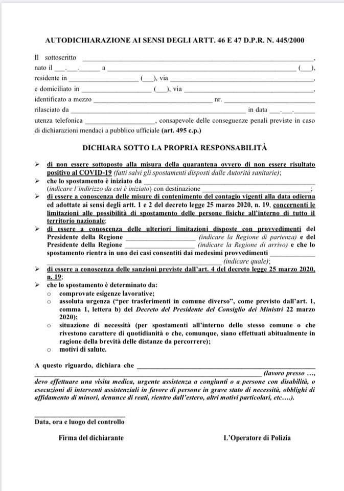 AUTOCERTIFICAZIONE SPOSTAMENTI CORONAVIRUS (modulo aggiornato al 26-03-2020)